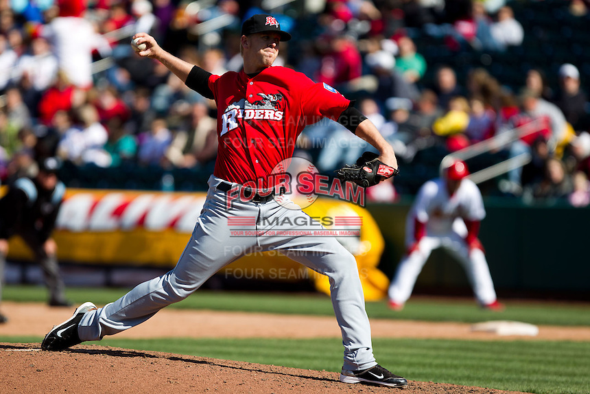 Justin Miller (25) of the Frisco RoughRiders delivers a pitch during a game against the Springfield Cardinals on April 16, 2011 at Hammons Field in Springfield, Missouri.  Photo By David Welker/Four Seam Images.