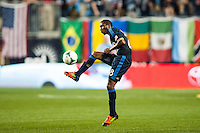 Raymon Gaddis (28) of the Philadelphia Union. The Los Angeles Galaxy defeated the Philadelphia Union 4-1 during a Major League Soccer (MLS) match at PPL Park in Chester, PA, on May 15, 2013.