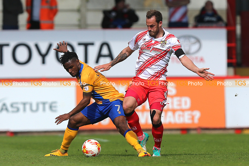 Shaquile Coulthirst of Mansfield Town and Luke Wilkinson of Stevenage during Stevenage vs Mansfield Town, Sky Bet EFL League 2 Football at the Lamex Stadium on 22nd April 2017