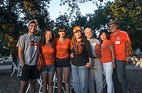 Jenna Nelson '17, third from left, is surrounded by her family, including (from left) siblings Spencer and Maddie, grandparents Margie and Dick, and parents Holly and Tim. Photo from Occidental College Homecoming & Family Weekend, Saturday, Oct. 19, 2013. (Photo by Marc Campos, Occidental College Photographer)