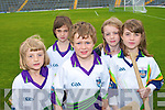 Putting their hurling skills to the test in Fitzgerald Stadium last week at the GAA Cu?l Camp were: .Back L-R Claire Landers and Eloise McMahon .Front L-R Saorlaith Moore, Peadar Whelan and Saoirse Egan