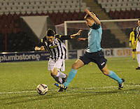 Lewis Morgan beating Ross Drummond in the St Mirren v Dunfermline Athletic Scottish Professional Football League Under 20 match played at the Excelsior Stadium, Airdrie on 11.12.13.