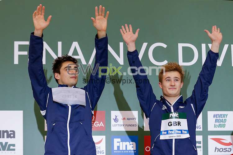 Picture by Rogan Thomson/SWpix.com - 01/05/2015 - Diving - 2015 FINA/NVC Diving World Series - London Aquatics Centre, London, England - Chris Mears and Jack Laugher of Great Britain celebrate on the podium after winning Silver in the Mens 3m Synchro Springboard Final on Day 1.