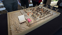 NWA Democrat-Gazette/BEN GOFF @NWABENGOFF<br /> A model of the facility sits on display Friday, April 12, 2019, during a groundbreaking ceremony for the New Beginnings facility in Fayetteville.