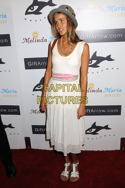 ISABEL LUCAS.Whaleman Foundation Benefit Dinner at Beso Restaurant, Hollywood, California, USA..August 10th, 2008.full length white dress grey gray hat belt shoes .CAP/ADM/BP.©Byron Purvis/AdMedia/Capital Pictures.