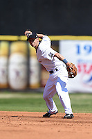 Huntsville Stars second baseman Nick Shaw (8) throws to first during a game against the Mobile BayBears on April 23, 2014 at Joe Davis Stadium in Huntsville, Tennessee.  Huntsville defeated Mobile 4-1.  (Mike Janes/Four Seam Images)