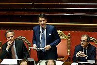 Minister of Foreign Affairs Enzo Moavero Milanesi, Italian Premier Giuseppe Conte and Minister of Economy Giovanni Tria<br /> Rome December 19th 2018. Senate. Speech of the Italian Premier about the results of the negotiation with the European Union about the  budget plan.<br /> Foto Samantha Zucchi Insidefoto