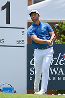 Jon Rahm (ESP) watches his tee shot on 1 during round 1 of the 2019 Charles Schwab Challenge, Colonial Country Club, Ft. Worth, Texas,  USA. 5/23/2019.<br /> Picture: Golffile | Ken Murray<br /> <br /> All photo usage must carry mandatory copyright credit (© Golffile | Ken Murray)