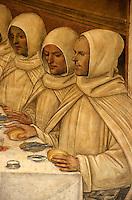 Italien, Toskana, Monte Oliveto Maggiore, Fresken von Sodoma im Kreuzgang der Abtei (1505)