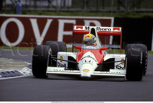 AYRTON SENNA (McLaren) during the Formula 1 Tyre Testing, Silverstone, 90. <br /> <br /> 1990 motor motorsport sport sports.motoracing motorracing racing formula 1 one F1.corner cornering