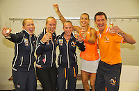 Netherlands, Den Bosch, April 18 2015 Maaspoort, Fedcup Netherlands-Australia,  The Dutch team defeats Australia and celebrate, l.t.r.: Kiki Bertens, Arantxa Rus Micha&euml;lla Krajicek end Richel Hogenkamp.<br /> Photo: Tennisimages/Henk Koster