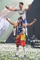 Real Madrid Marco Asensio and Alvaro Morata during the celebration of the 12th UEFA Championship won by Real Madrid  at Santiago Bernabeu Stadium in Madrid, June 04, 2017. Spain.<br /> Foto ALTERPHOTOS/BorjaB.Hojas/Insidefoto