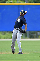 New York Yankees Leonardo Molina (28) during practice before a minor league spring training game against the Toronto Blue Jays on March 24, 2015 at the Englebert Complex in Dunedin, Florida.  (Mike Janes/Four Seam Images)