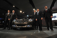 The Chrysler team, including CEO Robert Nardelli (second from right) and Vice-Chairman and President Jim Press (far right) at the Detroit Auto Show in Detroit, Michigan on January 11, 2009.