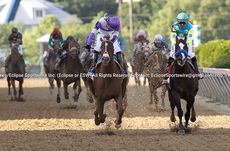 May 19, 2012 I'll Have Another (left), Martin Gutierrez up, wins the Preakness Stakes at Pimlico Race Course in Baltimore, Maryland, beating Bodemeister (right), Mike Smith up, by a neck. photo by Joan Fairman Kanes
