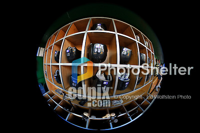 16 August 2008: Colorado Rockies' equipment rack is viewed through a fisheye lens prior to a game against the Washington Nationals at Nationals Park in Washington, DC.  The Rockies defeated the Nationals 13-6, handing the last place Nationals their 9th consecutive loss. ..Mandatory Photo Credit: Ed Wolfstein Photo