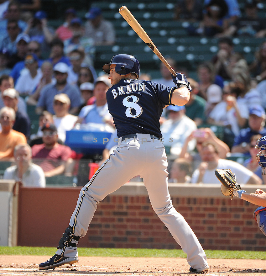 RYAN BRAUN (8) of the Milwaukee Brewers, in action during the Brewers game against the Chicago Cubs on August 30, 2012 at Wrigley Field in Chicago, IL. The Cubs beat the Brewers 12-11.