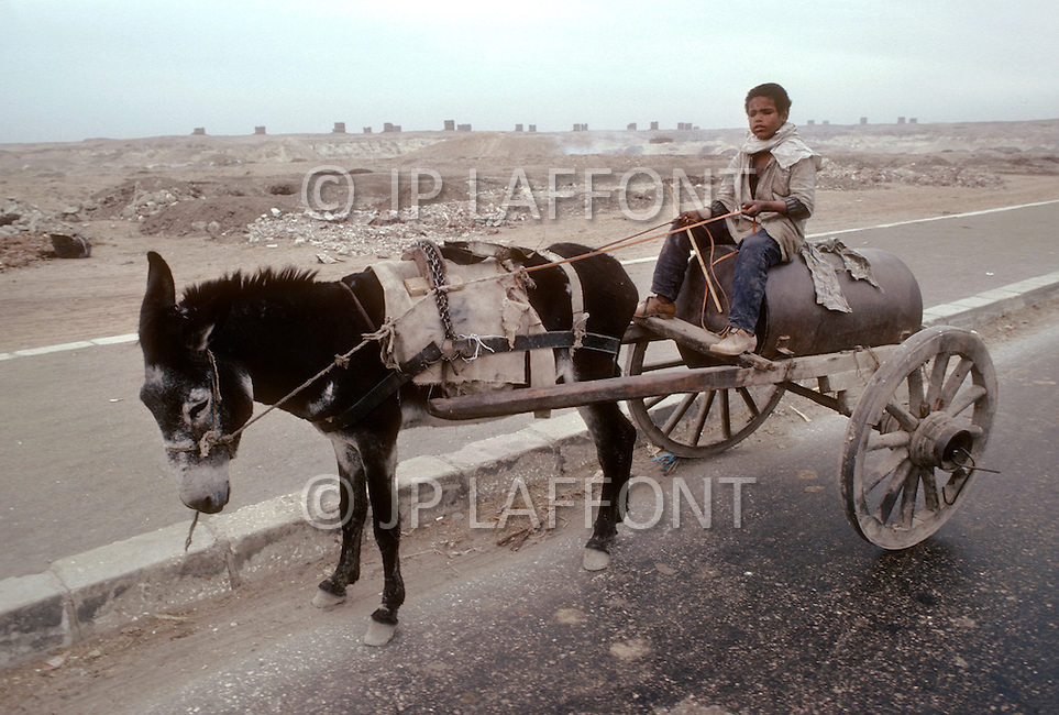 Child riding a gas tanker pulled by a donkey in Cairo, Egypt - Child labor as seen around the world between 1979 and 1980 - Photographer Jean Pierre Laffont, touched by the suffering of child workers, chronicled their plight in 12 countries over the course of one year.  Laffont was awarded The World Press Award and Madeline Ross Award among many others for his work.