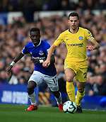 17th March 2019, Goodison Park, Liverpool, England; EPL Premier League Football, Everton versus Chelsea; Cesar Azpilicueta of Chelsea shields the ball from Idrissa Gueye of Everton