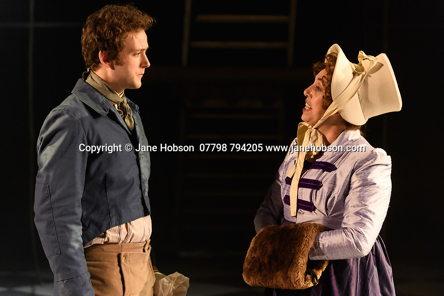 """Dundee, UK. 18.04.2017. Dundee Rep Ensemble and Poorboy Ensemble present a world premiere of """"Monstrous Bodies (Chasing Mary Shelley Down Peep O'Day Lane)"""", written and directed by Poorboy's Sandy Thomson. Picture shows: Jeremiah Reynolds (Nathan Green), Irene MacDougall (Marianne Baxter). Photograph © Jane Hobson."""