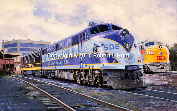Atlantic Coast Line Railroad E6 at the Atlanta yards waiting for an assignment and crew. Oil on canvas, 17 x 27.