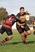Alex Tuiloma makes a run run towards the tryline as Lage Fasavalu tries to stop him. Counties Manukau Premier Club Rugby game between Papakura and Bombay, played at Massey Park Papakura on Saturday June 16th 2018. Bombay won the game 36 - 17 after leading 17 - 7 at halftime.<br /> Papakura Ray White 17 - Kris Smithson 2, Taafaga Tagaloa tries, Monty Punatai conversion.<br /> Bombay 36 - Jordan Goldsmith, Haamiora Clarke 2, Patrick Masoe, Mitchell Thackham, Chay Mackwood tries, Jordan Goldsmith 2, Ki<br /> Anufe conversions.<br /> Photo by Richard Spranger.