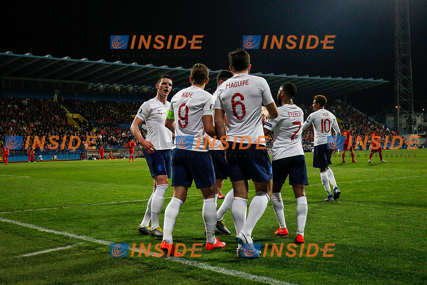 Michael Keane of England celebrates with teammates after scoring his side's first goal to equalise and make the score 1-1  <br /> Podgorica 25-3-2019 <br /> Football Euro2020 Qualification Montenegro - England <br /> Foto Daniel Chesterton / PHC / Insidefoto <br /> ITALY ONLY