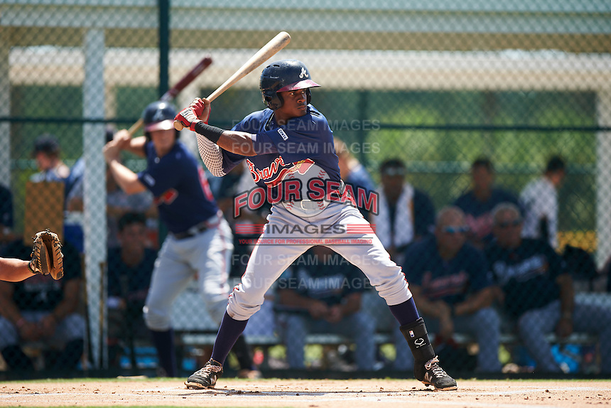 GCL Braves third baseman Alex Aquino (1) at bat during a game against the GCL Pirates on August 10, 2016 at Pirate City in Bradenton, Florida.  GCL Braves defeated the GCL Pirates 5-1.  (Mike Janes/Four Seam Images)