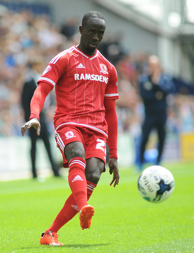 Middlesbrough's Albert Adomah in action during todays match  <br /> <br /> Photographer Kevin Barnes/CameraSport<br /> <br /> Football - The Football League Sky Bet Championship - Preston North End v Middlesbrough -  Sunday 9th August 2015 - Deepdale - Preston<br /> <br /> &copy; CameraSport - 43 Linden Ave. Countesthorpe. Leicester. England. LE8 5PG - Tel: +44 (0) 116 277 4147 - admin@camerasport.com - www.camerasport.com