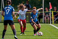 Kansas City, MO - Wednesday August 16, 2017: Casey Short, Desiree Scott during a regular season National Women's Soccer League (NWSL) match between FC Kansas City and the Chicago Red Stars at Children's Mercy Victory Field.