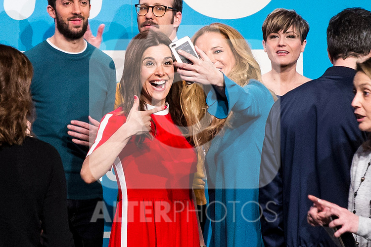 Raquel Sanchez Silva and Paula Vazquez take a selfie on the first anniversary of broadcast #0 television network of the Movistar + group in Madrid, Spain. January 30th 2017. (ALTERPHOTOS/Rodrigo Jimenez)