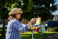 NWA Democrat-Gazette/JASON IVESTER <br /> Roz (cq) Ramey of Bella Vista works on her art piece on Wednesday, Sept. 16, 2015, on the Bentonville square. Ramey was on the square with other members of the Plein Air Painters of the Ozarks (PAPO) which meets weekly throughout the area.
