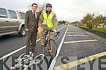 ON YOUR BIKE: Gerry Riordan of Tralee Town Council and John Fitzgerald of Kerry County Council who have published details of a number of proposed new cycle lanes for Tralee.   Copyright Kerry's Eye 2008