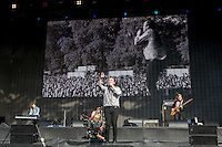 Frontman Samuel T Herring of Future Islands performs in front of the crowd during British Summertime Music Festival at Hyde Park, London, England on 18 June 2015. Photo by Andy Rowland.