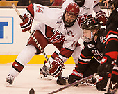 Alexander Kerfoot (Harvard - 14), Adam Gaudette (NU - 8) - The Harvard University Crimson defeated the Northeastern University Huskies 4-3 in the opening game of the 2017 Beanpot on Monday, February 6, 2017, at TD Garden in Boston, Massachusetts.