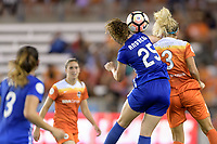 Houston, TX - Wednesday June 28, 2017: Morgan Andrews wins a header over Rachel Daly during a regular season National Women's Soccer League (NWSL) match between the Houston Dash and the Boston Breakers at BBVA Compass Stadium.