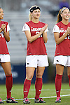 22 November 2013: Arkansas' Kayla Peterson (21). The University of Arkansas Razorbacks played the Saint John's University Red Storm at Koskinen Stadium in Durham, NC in a 2013 NCAA Division I Women's Soccer Tournament Second Round match. Arkansas won the game 1-0.