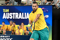 9th January 2020; Sydney Olympic Park Tennis Centre, Sydney, New South Wales, Australia; ATP Cup Australia, Sydney, Day 7; Great Britain versus Australia; Cameron Norrie of Great Britain versus Nick Kyrgios of Australia; Nick Kyrgios of Australia hits a forehand to Cameron Norrie of Great Britain - Editorial Use