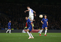 Chelsea's Davide Zappacosta and MOL Vidi's Boban Nikolov<br /> <br /> Photographer Rob Newell/CameraSport<br /> <br /> UEFA Europa League - Group L - Chelsea v MOL Vidi - Thursday 4th October 2018 - Stamford Bridge - London<br />  <br /> World Copyright © 2018 CameraSport. All rights reserved. 43 Linden Ave. Countesthorpe. Leicester. England. LE8 5PG - Tel: +44 (0) 116 277 4147 - admin@camerasport.com - www.camerasport.com