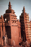 World Civilization:  African Adobe Architecture--Replastering mosque, Djenne, Mali. Contest between men of two halves of town whose teams work on north and south halves on different days.  SPECTACULAR VERNACULAR.  Photo '91.