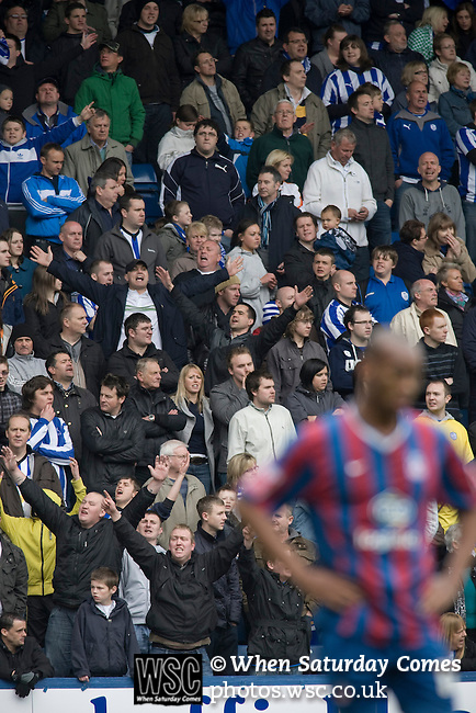 Sheffield Wednesday supporters cheering their team on at Hillsborough during their team's crucial last-day relegation match against Crystal Palace. The match ended in a 2-2 draw which meant Wednesday were relegated to League 1. Crystal Palace remained in the Championship despite having been deducted 10 points for entering administration during the season.