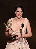 LOS ANGELES - SEPTEMBER 22: Phoebe Waller-Bridge accepts the award for writing for a comedy series at the 71st Primetime Emmy Awards at the Microsoft Theatre on September 22, 2019 in Los Angeles, California. (Photo by Frank Micelotta/Fox/PictureGroup)