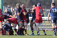 Tempers are raised during the Greene King IPA Championship match between London Scottish Football Club and Jersey at Richmond Athletic Ground, Richmond, United Kingdom on 18 February 2017. Photo by David Horn / PRiME Media Images.