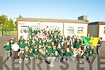 FLAGS: Kerry flags were flying high at Gaeilscoil Liosthalhal on Wednesday as Tadgh Kennelly arrived with the Sam Maguire Cup on Wednesday...