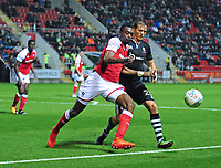 Lincoln City's Sean Raggett vies for possession with Rotherham United's Semi Ajayi<br /> <br /> Photographer Andrew Vaughan/CameraSport<br /> <br /> The Carabao Cup First Round - Rotherham United v Lincoln City - Tuesday 8th August 2017 - New York Stadium - Rotherham<br />  <br /> World Copyright &copy; 2017 CameraSport. All rights reserved. 43 Linden Ave. Countesthorpe. Leicester. England. LE8 5PG - Tel: +44 (0) 116 277 4147 - admin@camerasport.com - www.camerasport.com