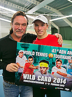 19-01-14,Netherlands, Rotterdam,  TC Victoria, Wildcard Tournament, ,   Final,  Alban Meuffels (NED) with his coach Carl Du Mee.<br /> Photo: Henk Koster