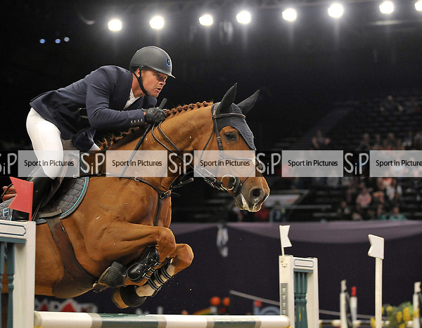 """Winner of the Grandstand welcome stakes, Francois Mathy Jnr riding """"Falco Van De Clehoeve"""". Horse of the year show (HOYS). National Exhibition Centre (NEC). Birmingham. UK. 05/10/2018. ~ MANDATORY CREDIT Garry Bowden/SIPPA - NO UNAUTHORISED USE - +44 7837 394578"""
