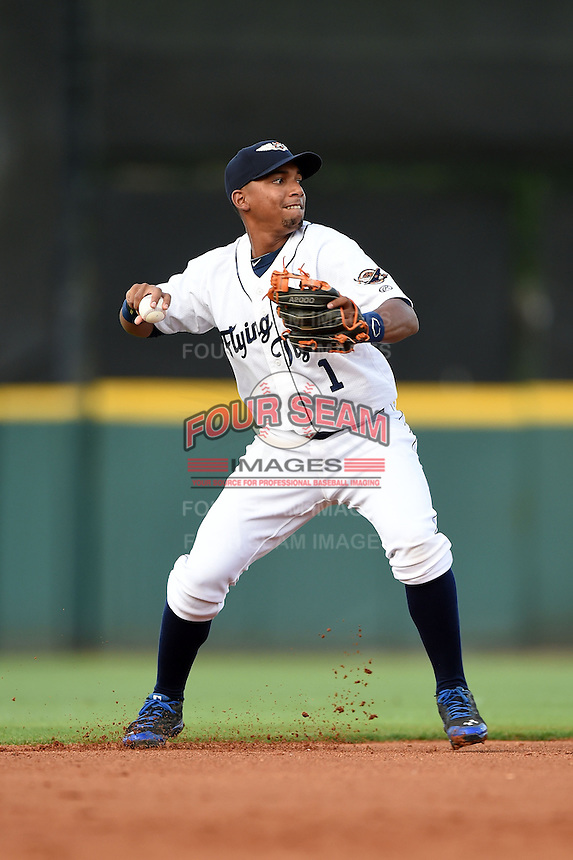 Lakeland Flying Tigers shortstop Dixon Machado (1) during a game against the Tampa Yankees on April 3, 2014 at Joker Marchant Stadium in Lakeland, Florida.  Tampa defeated Lakeland 4-0.  (Mike Janes/Four Seam Images)