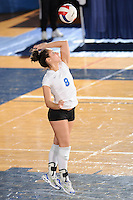 20 November 2008:  Middle Tennessee libero Brynne Henderson (8) serves during the Middle Tennessee 3-0 victory over Arkansas State in the first round of the Sun Belt Conference Championship tournament at FIU Stadium in Miami, Florida.