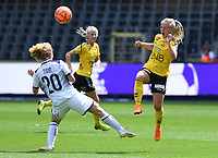 20190810 - ANDERLECHT, BELGIUM : Anderlecht's Charlotte Tison (left) pictured in a fight for the ball with LSK's Emilie Woldvik (r) during the female soccer game between the Belgian RSCA Ladies – Royal Sporting Club Anderlecht Dames  and the Norwegian LSK Kvinner Fotballklubb ladies , the second game for both teams in the Uefa Womens Champions League Qualifying round in group 8 , saturday 10 th August 2019 at the Lotto Park Stadium in Anderlecht  , Belgium  .  PHOTO SPORTPIX.BE for NTB NO | DAVID CATRY